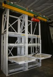roll out shelving with hoist system